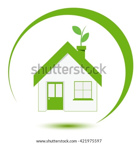Isolated green house flat icon, Vector illustration - stock vector