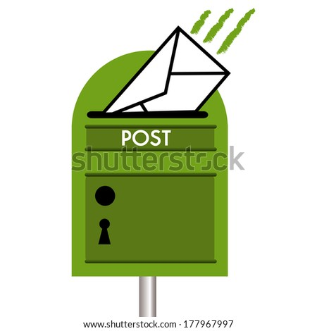 Isolated green mailbox receiving a white envelope - stock vector