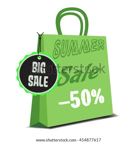 Isolated green summer sale bag with the text summer sale minus fifty percent written on the bag - stock vector