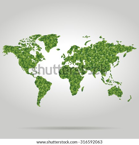Isolated green world map fill with leaves - stock vector