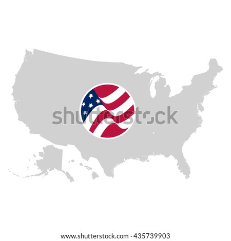 Isolated grey color American map vector logo. USA atlas image with national flag on the white background logotype. Geographic unit. - stock vector