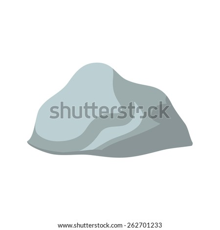 Isolated grey stone on white background, vector illustration - stock vector