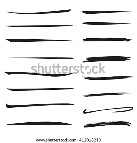 isolated hand drawn underlines, brush lines - stock vector