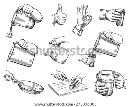 Isolated hand gestures illustration of kitchen theme - stock vector