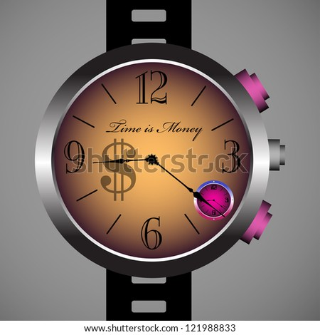 Isolated hand watch on which is written the text time is money - stock vector