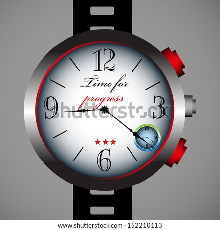 Isolated hand watch with the text time for progress written on the watch - stock vector