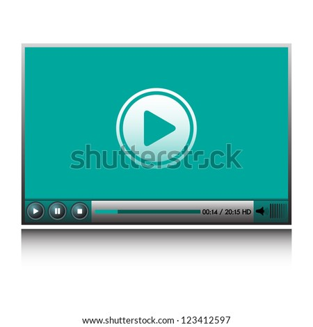 Isolated HD video player for websites - stock vector