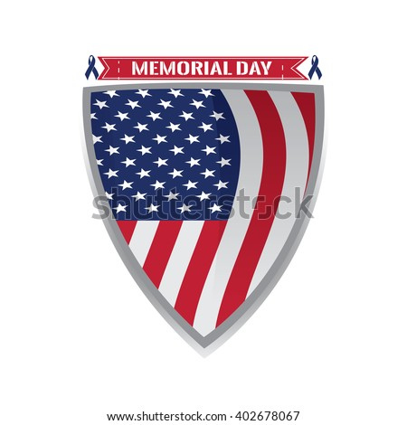 Isolated heraldry shield with the american flag, a pair of peace symbols and text - stock vector