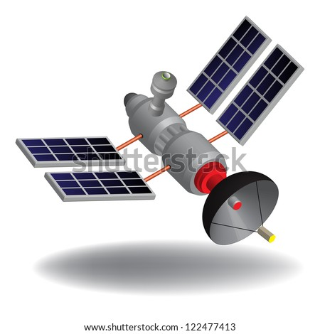 Isolated high tech communication satellite with various transponders, antenna, switching systems and solar cells - stock vector