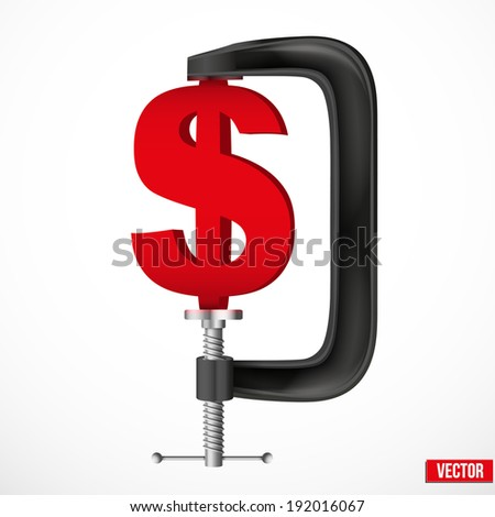 Isolated illustration of a currency symbol dollar being squeezed in a vice. Vector. - stock vector