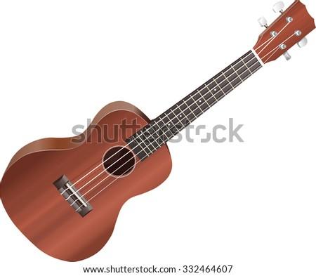 Isolated illustration of a ukulele on white background. - stock vector