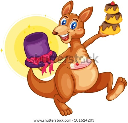 Isolated kangaroo with cupcakes - stock vector