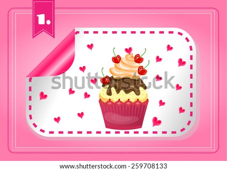 Isolated label with cupcake and hearts on pink background - stock vector