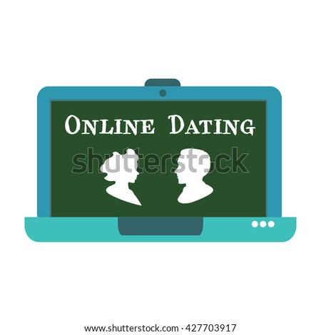 Isolated laptop with a man and a woman and the text online dating written with white letters - stock vector