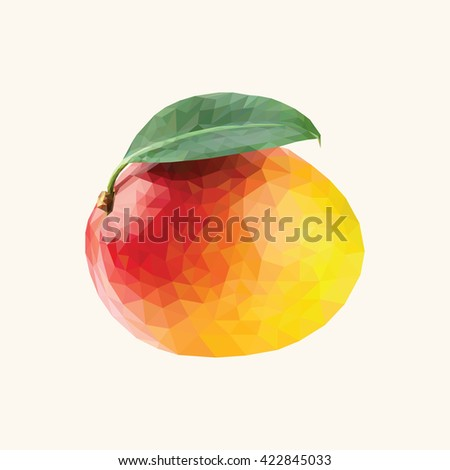 Isolated mango in triangulation technique. - stock vector