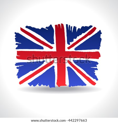 Isolated marker hand-drawn Brittish flag. Vector illustration of Union Jack - emblem of United Kingdom of Great Britain. England, Scotland, Wales and Northern Ireland national symbol. - stock vector