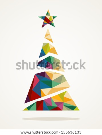 Isolated Merry Christmas colorful abstract tree, decoration star with geometric composition. EPS10 vector file organized in layers for easy editing.  - stock vector
