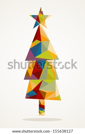 Isolated Merry Christmas colorful abstract tree, geometric composition. EPS10 vector file organized in layers for easy editing.  - stock vector