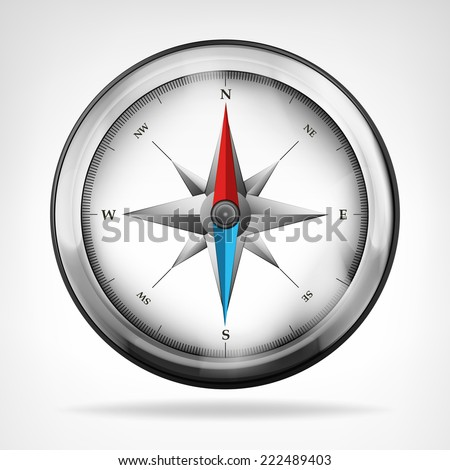 isolated metallic compass object vector illustration - stock vector