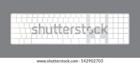 Isolated minimalistic computer keyboard, blank, illustration - stock vector