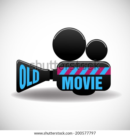Isolated movie projector with the text old movie written with blue letters - stock vector