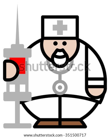 Isolated objects: doctor with syringe, on white background, editable vector image, for use as icon, patch, sticker, logo, design element - stock vector