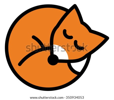 Isolated objects: sleeping red fox, on white background, editable vector image, for use as icon, patch, sticker, logo, design element - stock vector