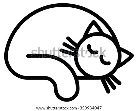 Isolated objects: sleeping white cat, on white background, editable vector image, for use as icon, patch, sticker, logo, design element - stock vector