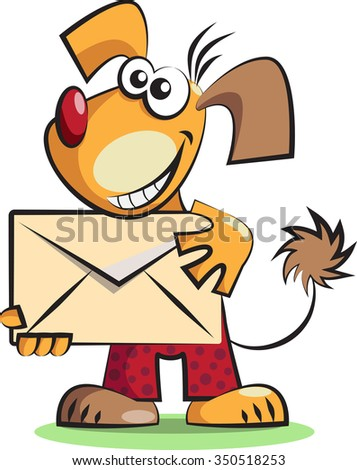 Isolated on white cartoon dog with the mail envelope - stock vector