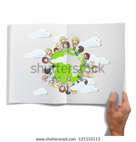 Isolated open book on white background with children around the world. Vector illustration. - stock vector