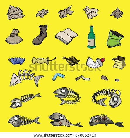 isolated paper glass plastic waste trash vector - stock vector