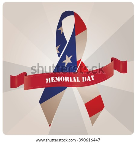 Isolated peace symbol with the american flag and a ribbon with text for memorial day - stock vector