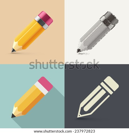 Isolated pencil in different styles of drawing (photorealism, sketch, flat and icon), eps 10 - stock vector