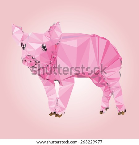 Isolated Pig made with triangles. Vector design.  - stock vector
