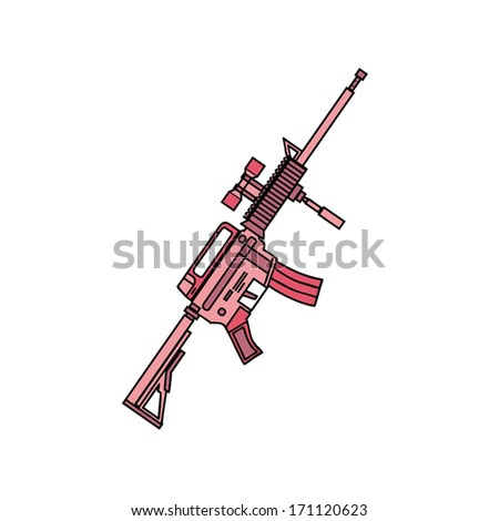 isolated pink military rifle, vector illustration - stock vector