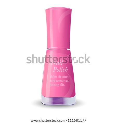 Isolated Pink Nail Polish . Vector - stock vector
