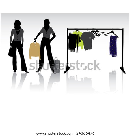 Isolated pretty woman shopping with bags - stock vector