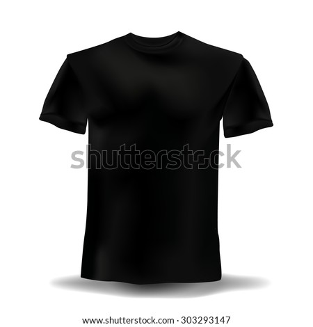 Isolated realistic black template t-shirts on a white background. Vector illustration - stock vector