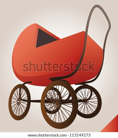 isolated red baby-carriage perspective postcard vector illustration - stock vector