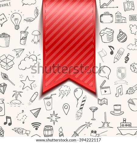 Isolated red bookmarkon background with doodle objects, vector illustration - stock vector