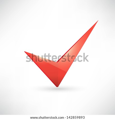 Isolated red check mark - stock vector