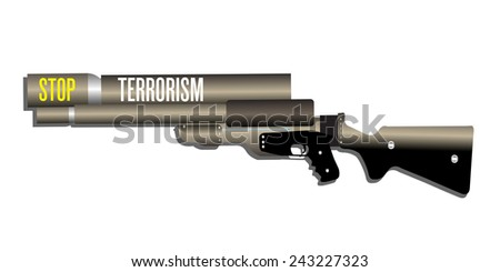 Isolated rifle with the text stop terrorism written on its tube - stock vector