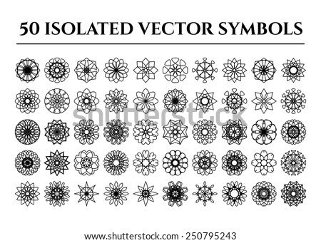 Isolated round east ornament set. Vector symbols - stock vector