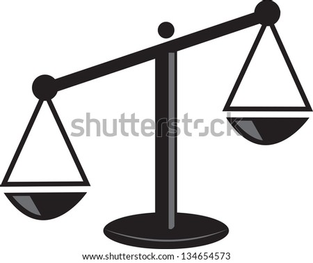 Isolated scale weighted on one side - stock vector
