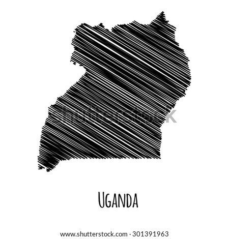 Isolated scribble map of Uganda. Black on white background. Vector illustration  - stock vector
