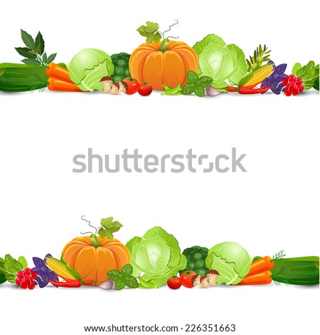 isolated seamless border with vegetables and herbs on white background - stock vector