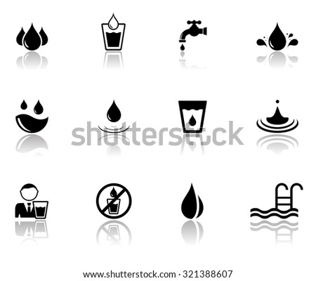 isolated set of black water icons with mirror reflection silhouette - stock vector