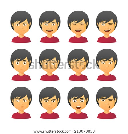 Isolated set of male avatar expressions - stock vector