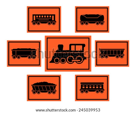 isolated set red rail road icons with train silhouette and coach collection - stock vector