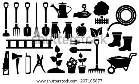 isolated set twenty seven black gardening  tools - stock vector